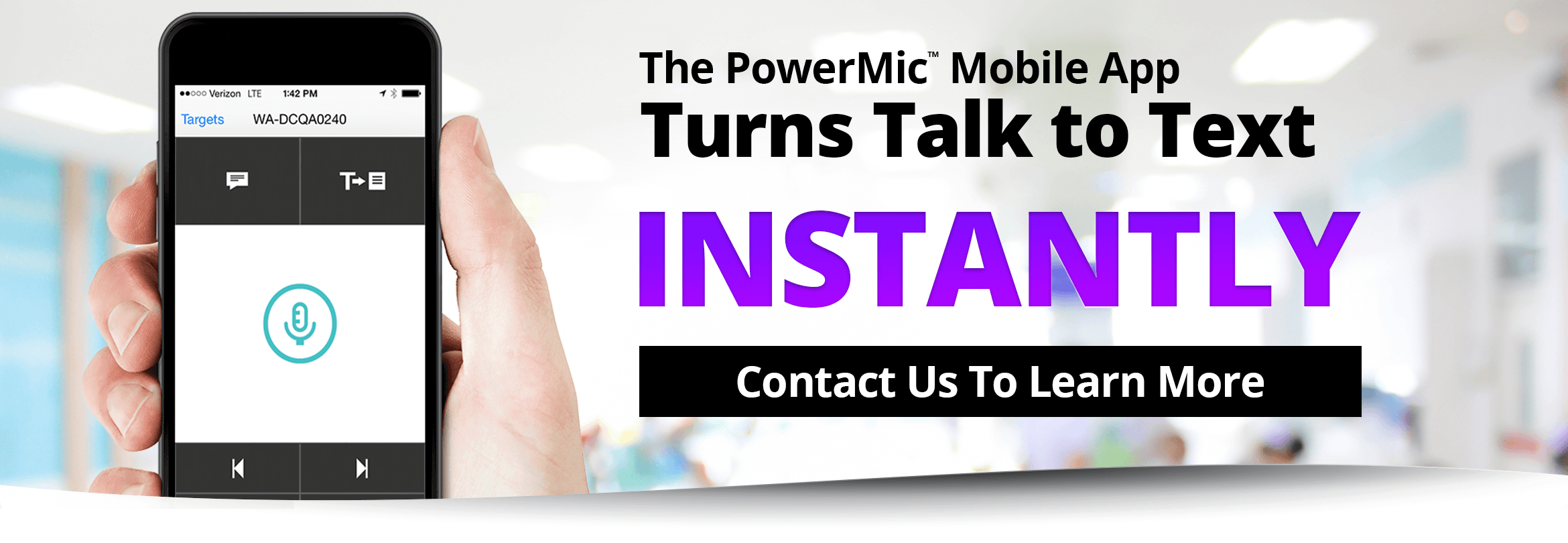 The PowerMic Mobile App turns talk to text instantly